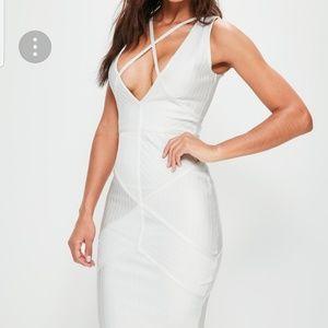 Missguided Off White Bandage Dress